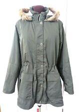 Arizona Jean Hi-Lo Anorak jacket 3X Olive Green Fur Hood Full zip Parka $92 NWT