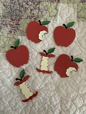 Hand Painted Metal Tin Apple Magnets Set of 6
