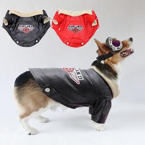 PU Leather Dog Winter Coat Waterproof Jacket French Bulldog Clothes W/Fur Collar