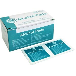 70% Isopropyl Alcohol Pads – 100 Individually Wrapped Wipes
