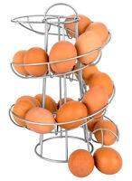 Space Saving Modern Design Egg Skelter Organizer Rack Metal Silver Stand Holder