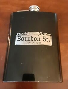 Rue Bourbon New Orleans Bourbon St Stainless Steel Flask