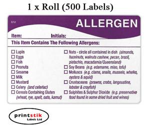 500 x FOOD ALLERGEN ALLERGY WARNING ALERT SAFETY STICKER/LABEL 500 PER ROLL FSA