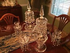 Pair of Two RARE Vintage Crystal Candlelabras Electric Light Prism Unwired
