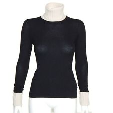 MAGASCHONI CASHMERE TURTLENECK Lovely Ivory & Black Women's Sweater XS - 1773