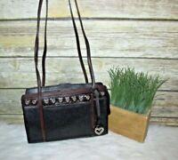 Brighton Black Pebbled Genuine Leather Studded Heart Purse Shoulder Bag Tote