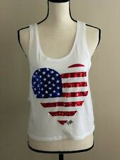 WOMENS Victoria's Secret PINK White Tank with Heart Sequin Flag SIZE XS