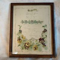 Antique Framed Marriage Certificate 1905 Pennsylvania Matrimony Wedding Hoover
