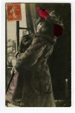 c 1907 Glamour TRAUT BEAUTY In FUR Coat Pretty Lady photo postcard