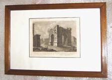 gravure XIXème architecture ancienne 1 - cadre, vitre et marquise 50 cm x 36 cm
