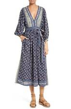 LA VIE Rebecca Taylor Navy Combo Long Sleeve Indienne Maxi Boho Dress Size S