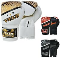 VELO Leather Boxing Gloves Punch Sparring Training Mitts Hand Wraps Fight Glove