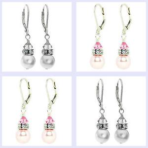 Swarovski Elements Crystal Simulated Pearl Sterling Silver Leverback Earrings