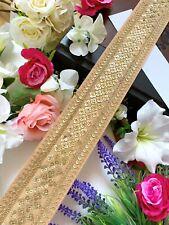 Yellow Indian Zari Sequin work Dupatta Sari Border lace Trim Indian 1M