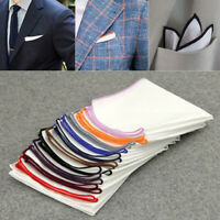 UK Men'S Pocket Square Handkerchief Cotton -Solid  Color Edge Handkerchiefs