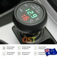 3 in 1 Digital LED USB Car Charger Voltmeter Thermometer Car Battery Monitor 2d