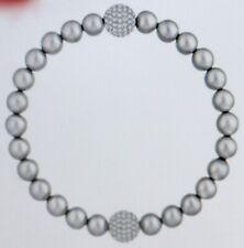 Swarovski Remix Collection Crystal Pearl Strand, Grey, Rhodium-Plated New