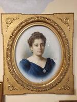 Dipinto tecnica a pastello raffigurante nobildonna - epoca Napoleone III