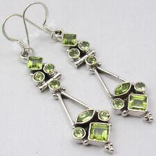 "Weight 6.9 Grams, 8 Gemstone Earrings ! 925 Solid Silver PERIDOT Jewelry 2.1"""