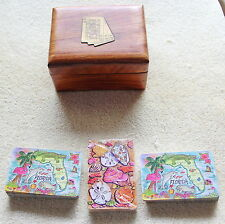 3 Decks Modern Playing Cards/Wood Box Pastel Florida Map/Nature Images Giftcorp