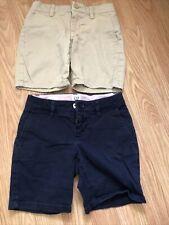 Gap Kids Girls Khaki Navy Uniform Shorts Size 6 Slim Lot Of 2