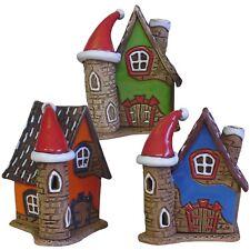 1x Keramik Teelichthaus Lichterhaus Teelichthalter mit Turm und Mütze 9 cm 40557