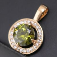 3 Ct Round Cut Peridot White CZ Halo Pendant Charm 14K Rose Gold Plated Jewelry