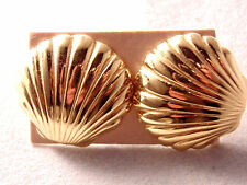 Avon Gold Plated Tone Sea Shell Earrings 1986