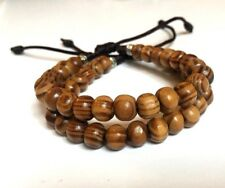 Shamballa Jewelry Rope Bracelet Men & Women  6 mm Pine Wood 7 to 7.5 inch -