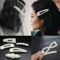 Pearl Hair Clip Slide Barrette Bridal Hair Accessory Oversized Large Gold-5Pcs