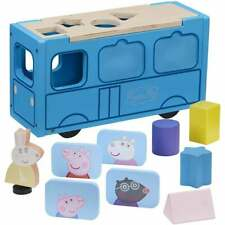 Peppa Pig Wooden School Bus Shape Sorter -Magnetic Pictures & Miss Rabbit Figure
