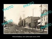 OLD LARGE HISTORIC PHOTO OF WOLCOTT INDIANA VIEW OF THE MAIN STREET c1910