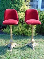 Rare Pair Antique Victorian Cast Iron Bar & Velvet Stools Haasbrock Sondergauard