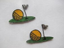 #2716 Lot 2Pcs Golf Ball,Grass,Flag Embroidery Iron On Applique Patch