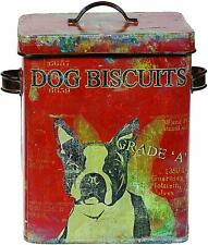 Creative Co op Vintage Tin Boston Terrier Dog Biscuit Container