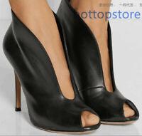 36-47 große Größe Damenschuhe schick Peeptoe schwarz PU Pumps elegant Schuhe