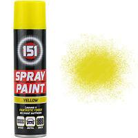 5 x 250ml 151 Yellow Gloss Aerosol Paint Spray Cars Wood Metal Walls Graffiti