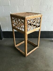 Vintage Cane Side Table Stand Bamboo MCM Design 1970s Retro Tiki PU3054 Only