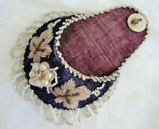 Antique Watch Holder Victorian Purple Velvet Beaded Beadwork Mother of Pearl MOP