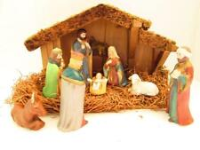 Holiday Time 8 Piece Porcelain Nativity Scene W/Wooden Stable