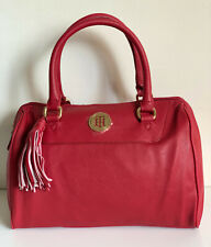 NEW! TOMMY HILFIGER RED SAFFIANO BOWLER SATCHEL TOTE PURSE HANDBAG $79 SALE