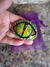 HAND PAINTED DRAGON EYE. AWESOME. GREEN WITH GOLD TRIM. ONE OF A KIND