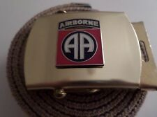 US MILITARY KHAKI WEB BELT WITH ARMY 82nd AIRBORNE BRASS BUCKLE U.S.A MADE