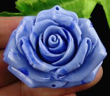 Beautiful blue Giant clam carved flower Pendant bead BC3548