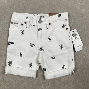 NEW Polo Ralph Lauren Boys 4/4T FINN Sullivan Slim Fit Shorts White Logo Cuffed