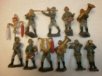 4. Konvolut 10 alte Lineol Massesoldaten zu 7.5cm Musiker Musikkapelle