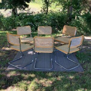 Mid Century Modern Marcel Breuer Cane Chrome Cesca Cantilever ChairsSet 6 Blond
