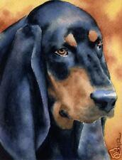 Black And Tan Coonhound Dog 8 x 10 Art Print Signed Artist Djr