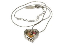 DISNEY HEART LOCKET SILVER NECKLACE FLOATING MOTHERS DAY MINNIE PLUTO CHARM
