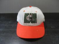 VINTAGE Miami Hurricanes Hat Cap White Orange UM Football Snap Back Mens 90s *